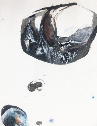 mixed media, étude cailloux | 40x40cm